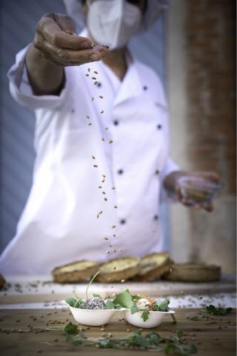 Emplatar bolitas queso trigo germinado